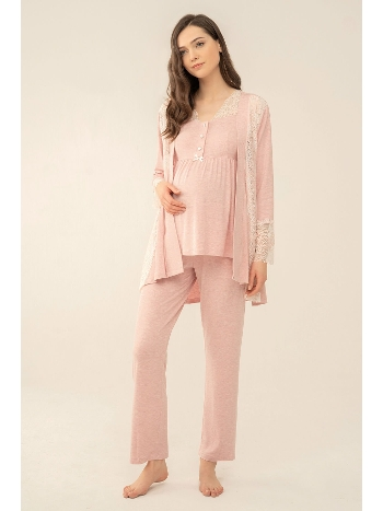 Dantel Detaylı Melanj 3'lü Lohusa Hamile Pijama Takım Feyza 4049