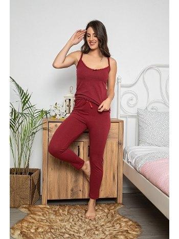 Dantel Detaylı Şortlu ve Taytlı 3lü Pijama Takımı MyBen 75018