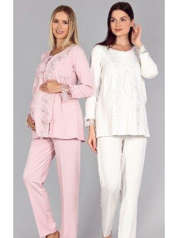 Dantel Hamile Lohusa Pijama Takımı Bone 5309