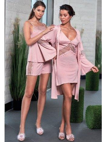 Dantelli 4lü Şortlu Pijama Takımı Jar Pierre 403