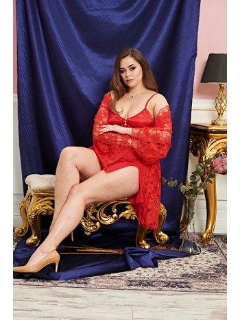 Dantelli Büyük Beden Fantazi Erotik Kırmızı 3lü Gecelik Takım Real Passione 8027