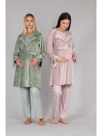 Dantelli Kadife Sabahlıklı Lohusa Pijama Takımı Bone 5310