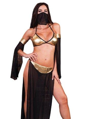 Derin Yırtmaçlı Sarı Siyah Dansöz Kostümü İntimo 4510