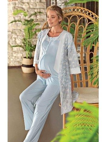 Desenli Sabahlıklı Viscon Lohusa Pijama Takımı Artış 10300
