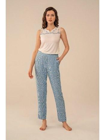 Dokuma Kumaş Çiçek Nakışlı Pijama Takım Feyza 4078