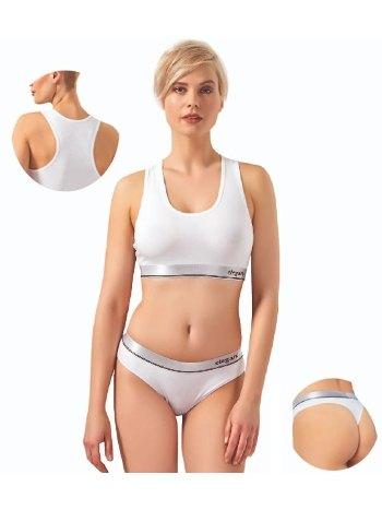 Elegant Beyaz Spor Sütyeni Ve String Külotlu Takım 23001-YG Öztaş
