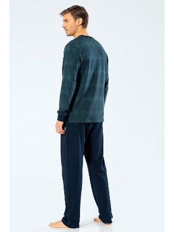 Erkek Jakarlı Baklavalı Patlı Pijama Takım Cacharel 2195/YEŞİL