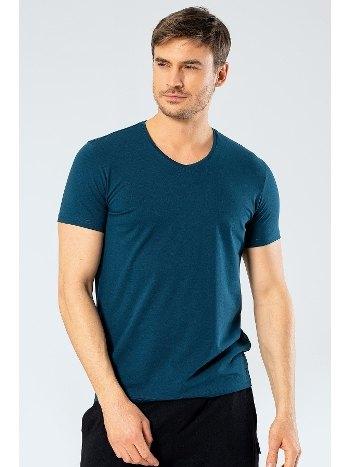 Erkek Likralı V Yaka T-shirt Cacharel 1332