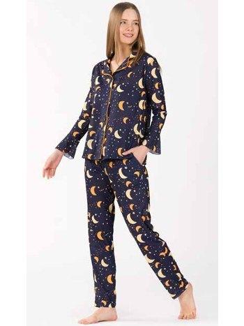 Gece Desenli Önden Düğmeli Pijama Takım Yeni İnci BPJ1744