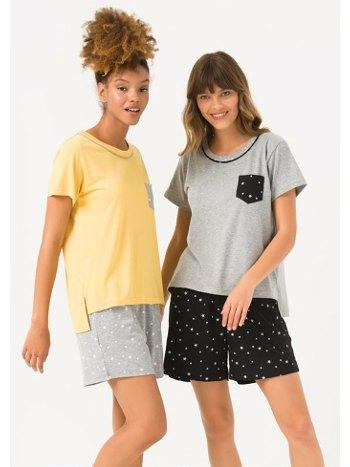 Geniş Yakalı Pijama Şort Takım Yeni İnci BPJ1693