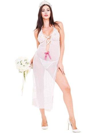 Göğüs Dekolteli Beyaz Tül Erotik Gecelik İntimo 3804