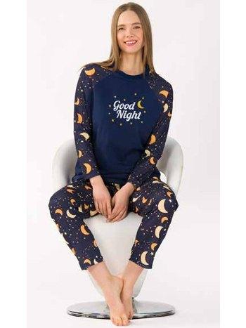 Good Night Uzun Kollu Kadın Pijama Takım Yeni İnci BPJ1746