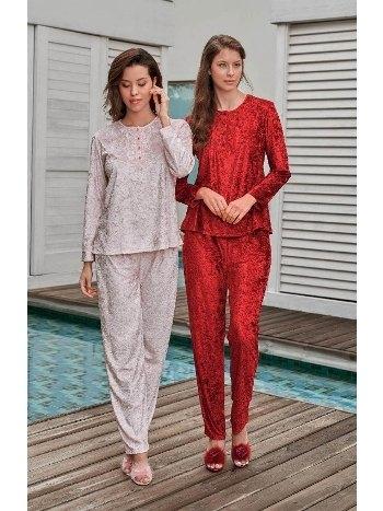 Kadife Önden Düğmeli Pijama Takımı Jar Pierre 233