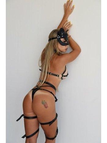 Kedi Maskeli Tasmalı Deri Jartiyer Harness Marka 0386S