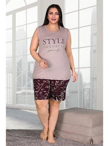 Kahverengi Büyük Beden Şortlu Pijama Takımı Lady 10259