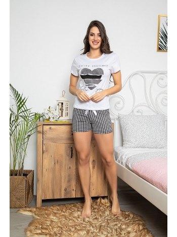 Kalp Baskılı Kısa Kollu Şortlu Kadın Pijama Takımı MyBen 30070
