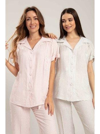 Keten Çizgili Önden Düğmeli Lohusa Pijama Bone Club 5240