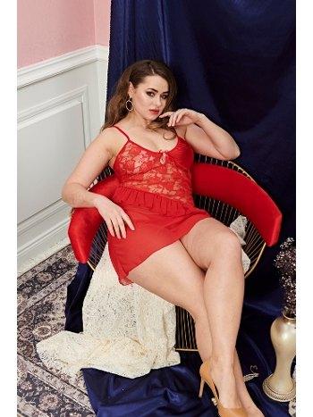 Kırmızı Büyük Beden Erotik Gecelik Real Passione 5247