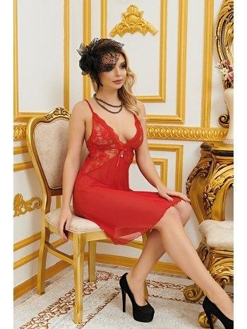 Kırmızı Dantelli Transparen Erotik Gecelik Real Passione 3604