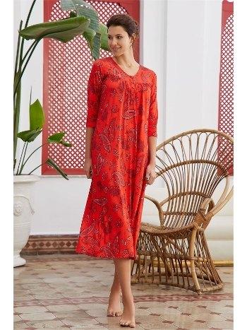 Kırmızı Şal Desen Gecelik Pijama Eros ESK28614