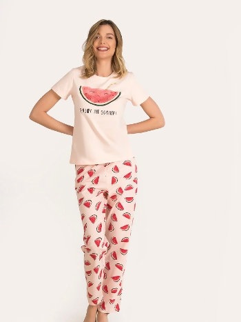Kısa Kol Karpuzlu Pijama Takımı NBB 67149