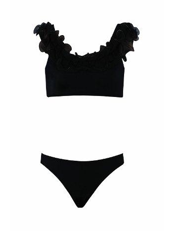 Kom Alice Fırfırlı Kız Çocuk Siyah Bikini Takımı