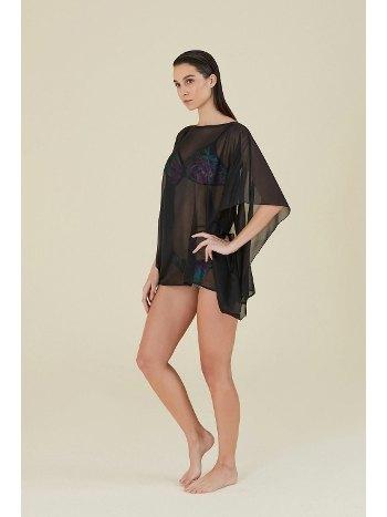 Kom Daria Sırt Biyeli Siyah Plaj Elbisesi