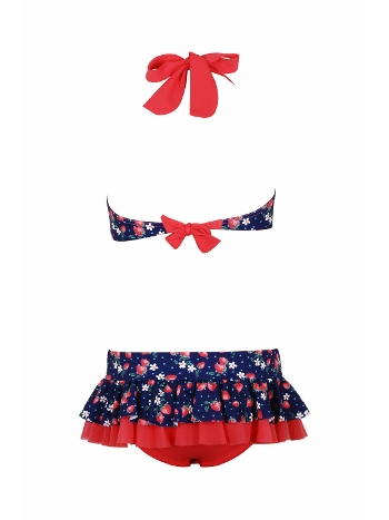 Kom Fraise Çilek Baskı Fırfırlı Bikini Takım Kız Çocuk Lacivert