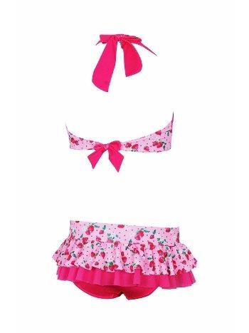 Kom Fraise Çilek Baskı Fırfırlı Bikini Takım Kız Çocuk Pembe