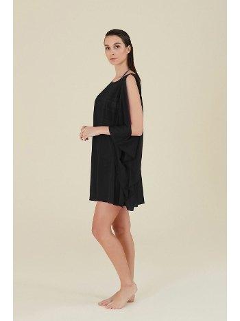 Kom İrma Kol Detay Siyah Kısa Plaj Elbisesi