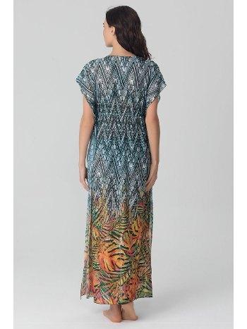 Kom Kalse Palmiye Uzun Yeşil Plaj Elbisesi