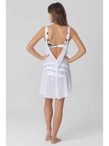 Kom Melda Düz Renk Sırtı Açık Beyaz Plaj Elbisesi