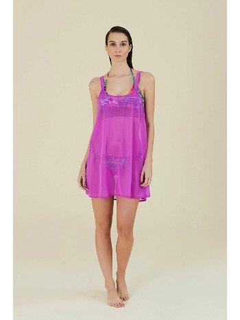 Kom Melda Düz Renk Sırtı Açık Fuşya Plaj Elbisesi