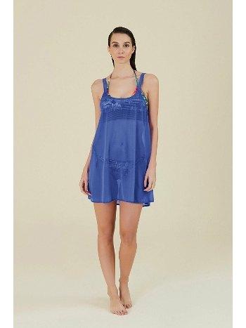 Kom Melda Düz Renk Sırtı Açık Plaj Elbise