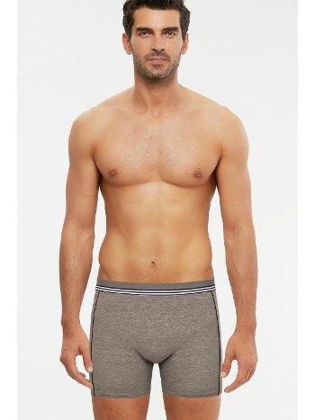 Kom Nio Kontrast Şeritli Uzun Erkek Boxer