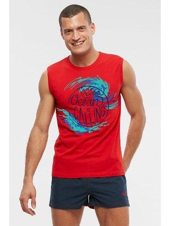 Kom Ocean Slogan Baskılı Kırmızı Deniz Atleti