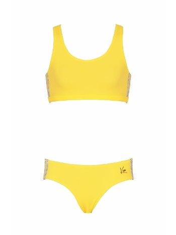 Kom Solid Sırt Pencere Detaylı Bikini Takımı Sarı