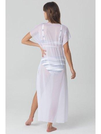 Kom Wiona Önden Açık Beyaz Uzun Plaj Elbisesi