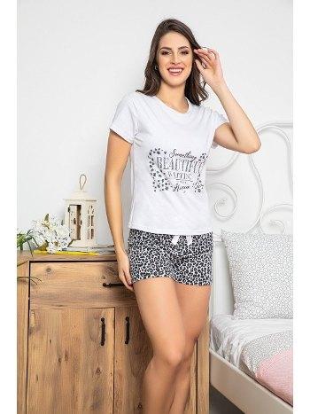 Leopar Desenli Kısa Kollu Şortlu Kadın Pijama Takımı MyBen 30071
