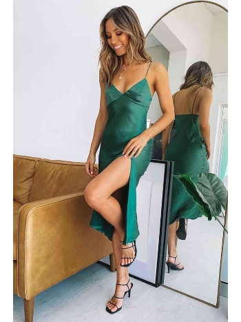 Merry See Saten Uzun Yırtmaçlı Gecelik Elbise Yeşil