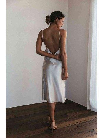 Merry See Sırt Dekolteli Uzun Saten Gecelik Elbise MS2329-Beyaz
