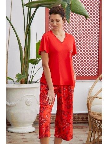 Modal Pamuk Şal Desen V Yaka Kısa Kollu Kapri Pijama Takımı Eros ESK28610