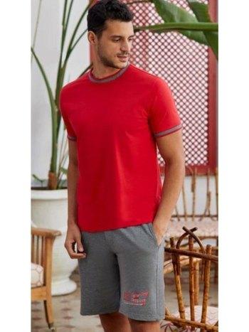 O Yaka Kırmızı Erkek Şort Takım Eros ESE28015