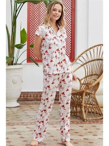 Önden Düğmeli Kısa Kollu Pijama Takımı Eros ESK28544