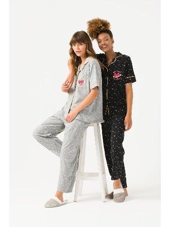 Önden Düğmeli Viskon 2li Pijama Takım Yeni İnci BPJ1691