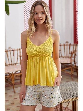 Sarı İp Askılı Şortlu Pijama Takımı Eros ESK28532