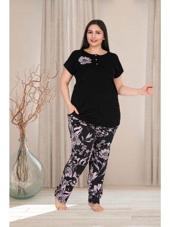Siyah Büyük Beden Pijama Takım Lady 10764