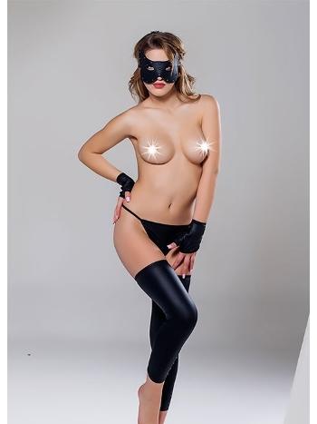 Siyah String+Bacak Bandi+Eldiven+Maske Moonlight 9275