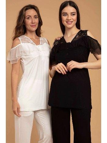 Spring Sabahlıklı Dantelli Lohusa Hamile Pijama Takımı Bone Club 5212