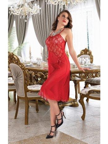 Transparan Dantelli Kırmızı Uzun Erotik Gecelik Real Passione 4502